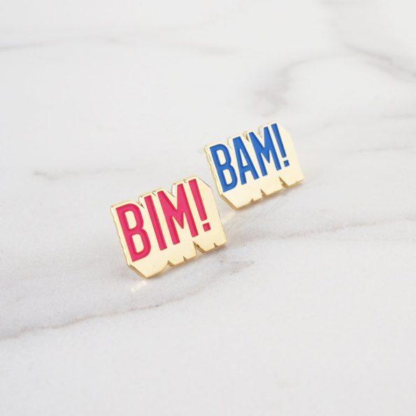 duo de pin's à message bim bam boum