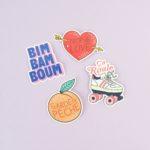 stickers trop de love, garde la pêche, ça roule, bim bam boum