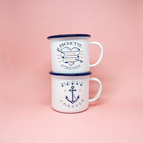mugs émaillés bichette morue
