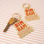 """porte-clés graphisme """"bim bam boum"""" dégradé de couleur orange"""