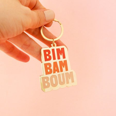 """porte-clé métal expression """"bim bam boum"""" cadeau original"""
