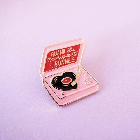 pin's platine vinyle vintage rose
